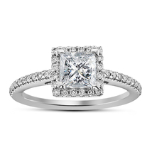 14k White Platinum Fn Red & White Diamond Engagement Solitaire With Acce... - £47.28 GBP
