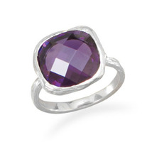 Textured Sterling Silver Ring with Checkerboard Faceted Purple CZ - $59.99