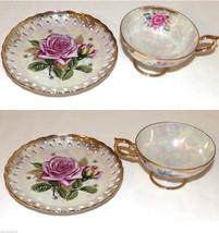 Vintage Lusterware Tea Cup Saucer Pink Rose Gilt Trim Perforated Plate U... - $19.99