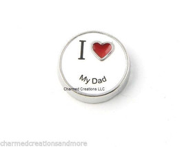 I Love My Dad Red Heart Floating Charm For Glass Memory Lockets - $1.99