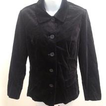 Talbots 8P Jacket Black Velvet Cotton Stretch Blazer Petites Holiday - $23.49