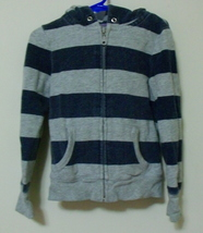 Girls Old Navy Gray Blue Hooded Long Sleeve Striped Sweatshirt Size XS - $4.95