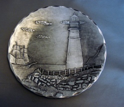 """Pewter Hand Forged 5 1/2"""" Lighthouse Plate from... - $19.99"""