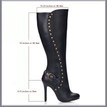 Gothic Wide Leg Buckle Strap Rivet Black Leather Side Zip Up Heel Stiletto Boots image 2
