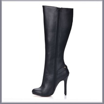 Gothic Wide Leg Buckle Strap Rivet Black Leather Side Zip Up Heel Stiletto Boots image 4
