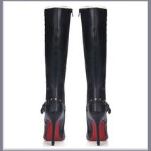 Gothic Wide Leg Buckle Strap Rivet Black Leather Side Zip Up Heel Stiletto Boots image 5