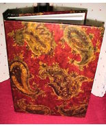 DECORATIVE RED,GOLD,GREEN PAISLEY 3-RING BINDER ALBUM,10.5x8x1.5;ALBUM O... - $4.99