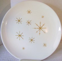 "1 ""STAR GLOW"" DINNER PLATE 10"" ROYAL CHINA Retro Gold Atomic Starbursts - $8.00"