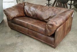 "59"" Sofa Vintage Bull Top Grain Leather Super Confortable Sofa. - $2,820.51"
