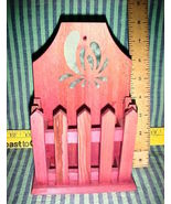 LETTER/GREETING CARD HOLDER-WOOD-RED-STENCIL PICKET  DESIGN WITH HANGER ... - $4.49