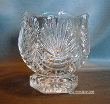 Vintage Cut Leaded Crystal Vase/Goblet on Square Pedestal Base