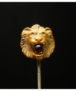 ANTIQUE Lion Stickpin 1/4CT Garnet jeweled vintage stick pin gold mens l... - $175.00