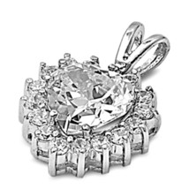 Sterling Silver Brilliant CZ Heart Pendant New Love Gift Anniversary d70 - $23.11