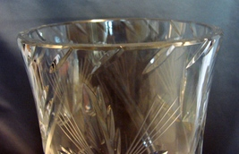 Stunning 10 Inch Tall Crystal Vase~ Inspired by Nature~ Beautiful Cuts~ Thick~He image 3