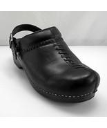 Dansko Black Leather Split Toe Slip On Clogs  Adjustable Buckle Strap - ... - $56.95