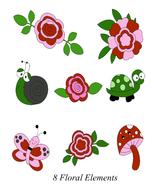 8 Floral Elements-Digital Clipart  - $6.00