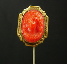 ANTIQUE Cameo Stickpin Raised relief vintage stick pin gold mens lapel p... - $175.00