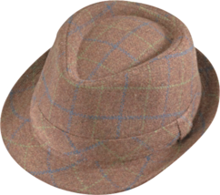 Henschel Wool Blend Stingy Brim Fedora Multi Colored Plaid Gray Brown Camel - $48.00