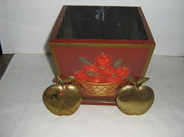 Department 56 2 Brass Apple Ornaments Wooden Apple Box - $4.95