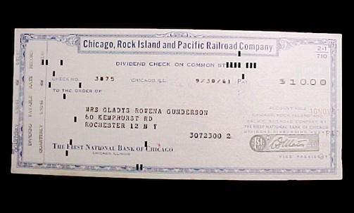 Chicago Rock Island & Pacific Railroad Dividend Check