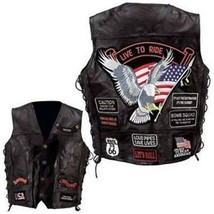 Mens Leather Biker Motorcycle Harley Rider Chopper Vest 14 Patches Eagle... - $23.35