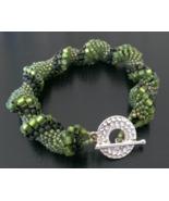 Handmade Award Winning Designer Olive Green Seed beads Swirl twist Brace... - $26.99
