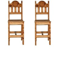 """2 QTY 30"""" WOOD SEAT STAR BAR STOOL Rustic Western Real Solid Wood Lodge ... - £299.85 GBP"""