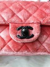 AUTHENTIC CHANEL CORAL PINK VELVET LARGE MINI RECTANGULAR FLAP BAG BLACK HW image 5