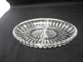 Vintage Clear Pressed Glass Oval Relish Dish Divided Bowl - $9.46