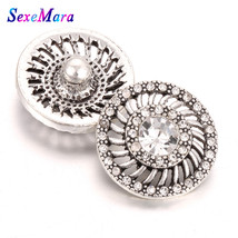 10pcs/lot New Snap Jewelry Full Crystal Flower Gold 18mm Metal Snap Butt... - $14.48