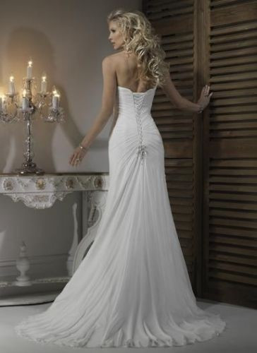 Pleat Chiffon Beach Wedding Dresses at Bling Brides Bouquet - Online Bridal Stor