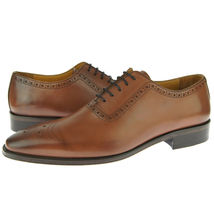 Premium Leather Lace Up Oxford Classical Brown Burnished Brogues Toe Men Shoes - $139.90+