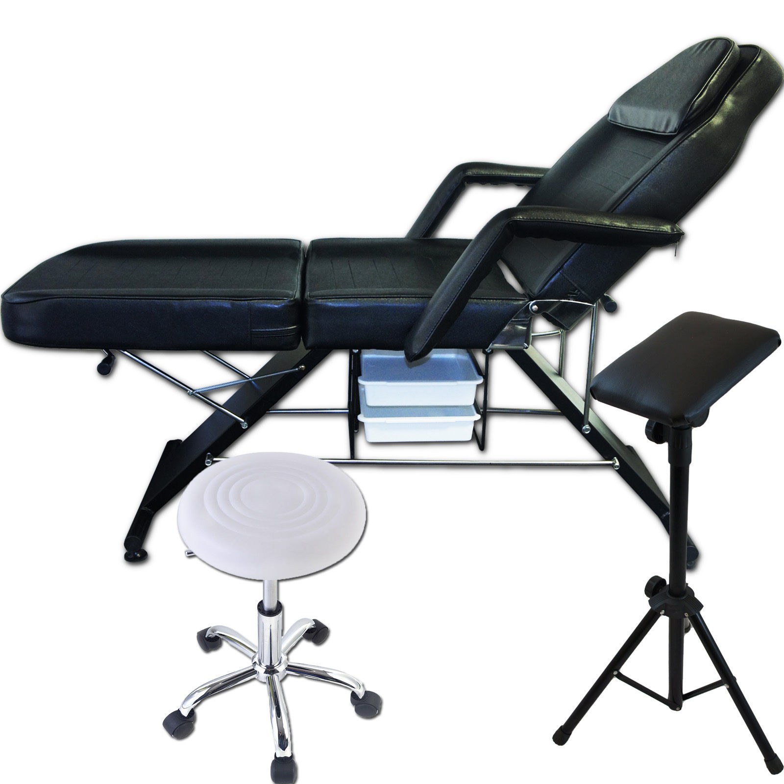 Salon SPA Black Massage Bed Tattoo White Stool Hydraulic Chair Table Arm Rest