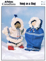 Knit Cabbage Patch Doll Parka Set, Bunting Bag Snug As A Bug Cute! Patons 1034 - $8.98