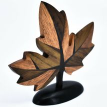 Northwoods Handmade Wooden Parquetry Canadian Maple Leaf Sculpture Figurine image 3