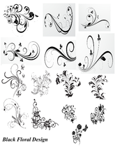 15 Black Floral Design-Digital Clipart  - $6.00