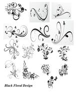 15 Black Floral Design-Digital Clipart  - $6.00