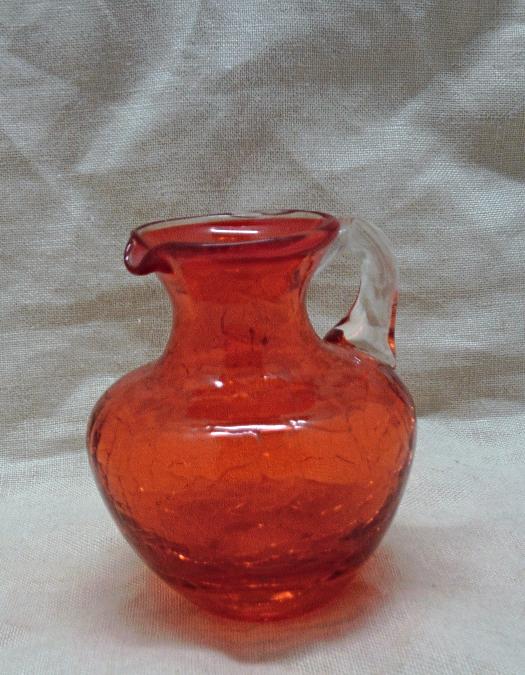 Vintage Mid Century Orange Crackle Glass Art And 50 Similar Items