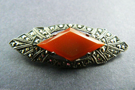 Art Deco Sterling Silver 925 Marcasite Carnelian Pin Brooch bar Signed $... - $79.30