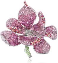 EVER FAITH Women's Austrian Crystal Orchid Flower Petal Brooch Pink Silv... - $65.75