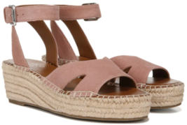 Franco Sarto Pellia Size 10 M EU 40 Women's Suede Espadrille Wedge Sandals Mauve - $39.55