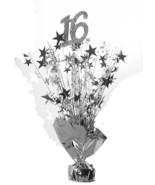 "2 Metallic Silver 16 Birthday Balloon Weights 15"" tall centerpiece decor... - $9.85"