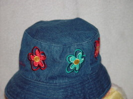 OshKosh Toddler Blue Jean Hat With Flowers - $14.00