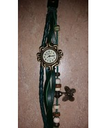Green Leather Beaded Butterfly Charm Watch For Women, New - $14.99