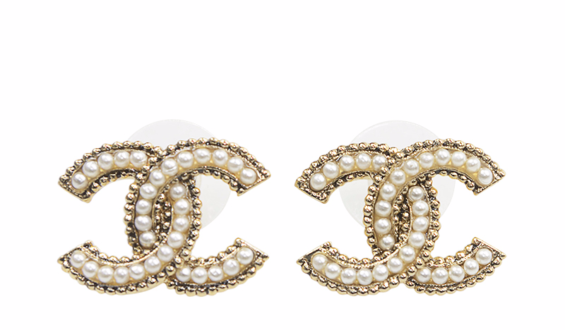 authentic chanel 2015 large pearl gold cc logo stud