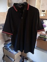 LOT of 10 CATALINA BAY Men's Casual Shirt Polo BLACK w Red Collar MEDIUM... - $28.69