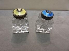 Norway Hroar Prydz Silver Blue Yellow Guilloche Enamel Glass Salt Pepper... - $84.15