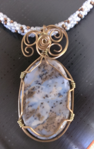 """Pendant Wire Wrapped Dendridic Agate Gemstone on a beaded Necklace 23"""" W... - $42.00"""