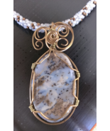 "Pendant Wire Wrapped Dendridic Agate Gemstone on a beaded Necklace 23"" W... - $40.00"