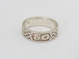 Vintage CELTIC Sterling Silver Band Ring Size 7.75 - £14.82 GBP